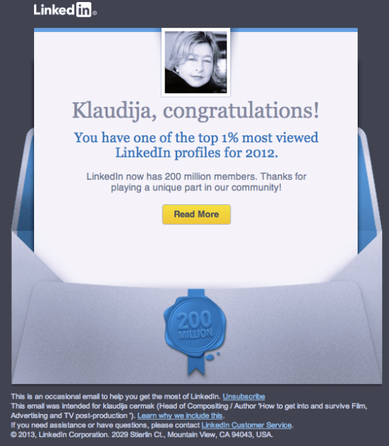 one of the top 1% most Viewed Linkedin profiles for 2012
